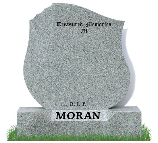Tulip Headstone in Grey Granite. Three curved groves recessed into the left side of the memorial. Surname engraved on a sunken base. Inscriptions engraved in matte black. Fonts: Old English MT and Times Roman 76 lettering