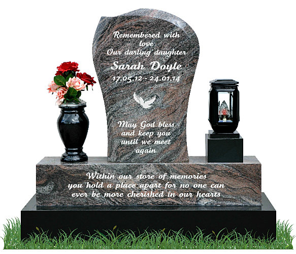 Small Children's Gravestone in Paradiso Granite. Black granite flower vase and solar light rest each side of the headstone. Inscriptions and image of dove are engraved in silver. Font: Tartine Script lettering.