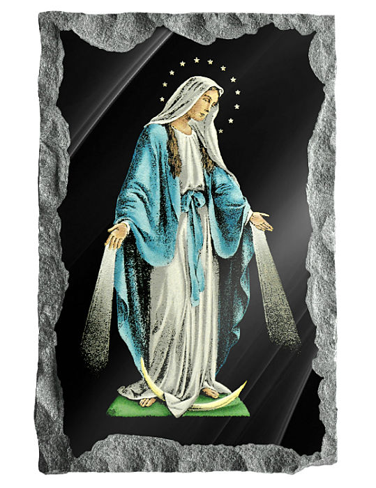 The Virgin Mary of the Miraculous Medal etched and hand painted in color on black granite.