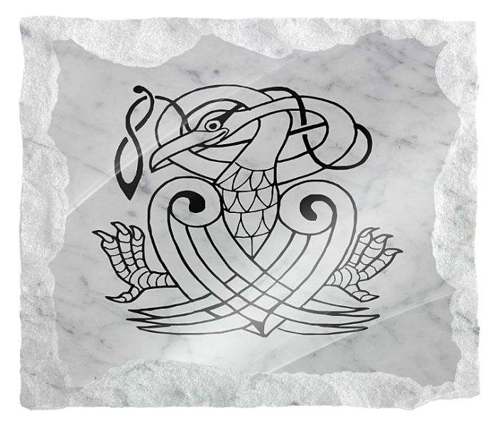 Image of Celtic mythical creature etched on a white marble background