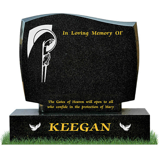 D30 Gravestone in African Black Granite. Traditional Image of Our Lady praying engraved with a silver background. Doves engraved in silver. Inscriptions in gold leaf.  Font: Times Roman 98 lettering.