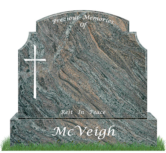 Traditional Top9 headstone in Paradiso Granite. Image of plain cross engraved in silver. All inscriptions engraved in silver. Font: Lucida Calligraphy lettering.
