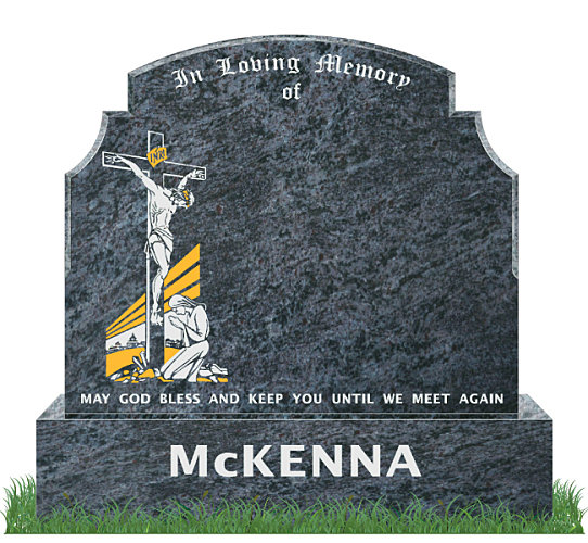Traditional Top9 headstone in Bahama Blue Granite. Image of the crucifixion of Jesus etched in gold leaf and silver. All inscriptions engraved in silver. Fonts: Old English MT and  Mason Block 73 lettering