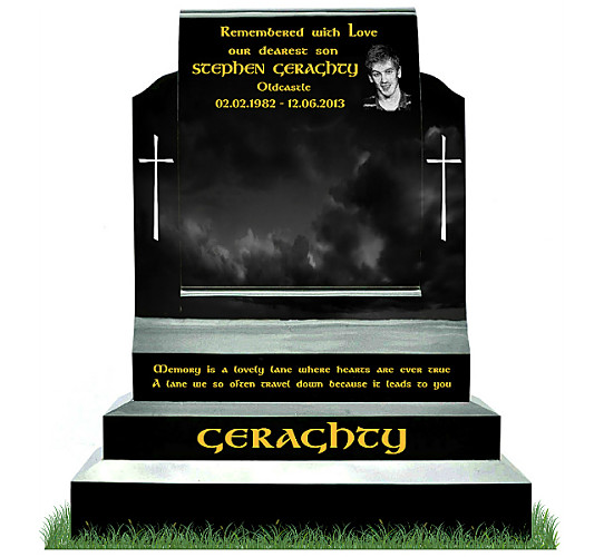 Curved Face Scroll Monument in Black Granite. Etched Portrait and two plain crosses engraved in silver. Inscriptions engraved in gold leaf. Font: Gandalf Bold lettering