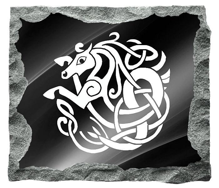 Celtic Horse image etched on a black granite background