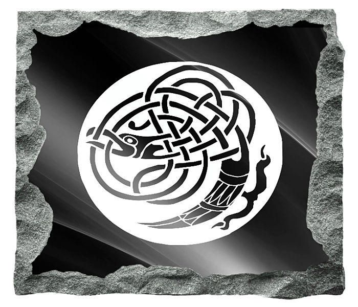 Irish Celtic Art Image etched on a black granite background