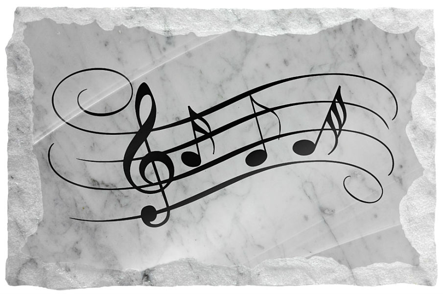 Image of Elongated Music Notes etched on a white marble background