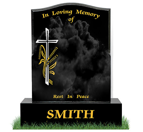 4 Inch Ogee Headstone in Black Granite. Image of cross and wheat engraved in silver and gold leaf. Inscriptions engraved in gold leaf. Font: Times Roman 98 Lettering.
