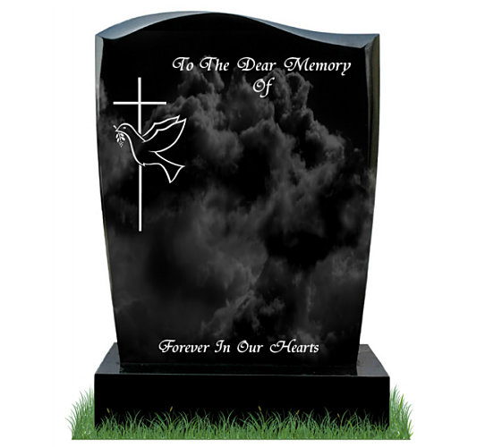 Small D30 Gravestone in Black Granite. Image of cross with dove and inscriptions engraved in silver. Font: Tiranti Solid lettering.