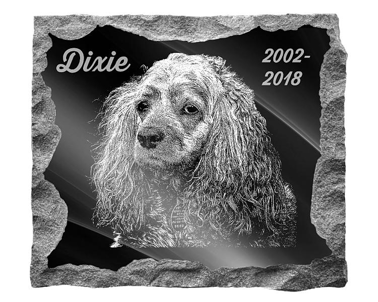 American Cocker Spaniel Dog Memorial. Image and inscription etched on polished black granite with a natural outer edge chisel finish. Plaque size: 16