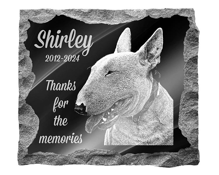 Bull Terrier Dog Memorial. Image and inscription etched on polished black granite with a natural outer edge chisel finish. Plaque size: 16