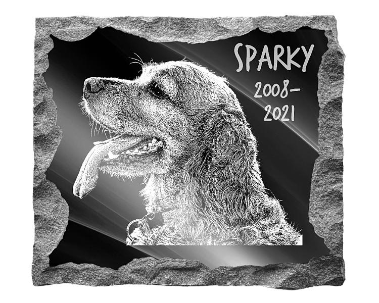 Cocker Spaniel Dog Memorial. Image and inscription etched on polished black granite with a natural outer edge chisel finish. Plaque size: 16