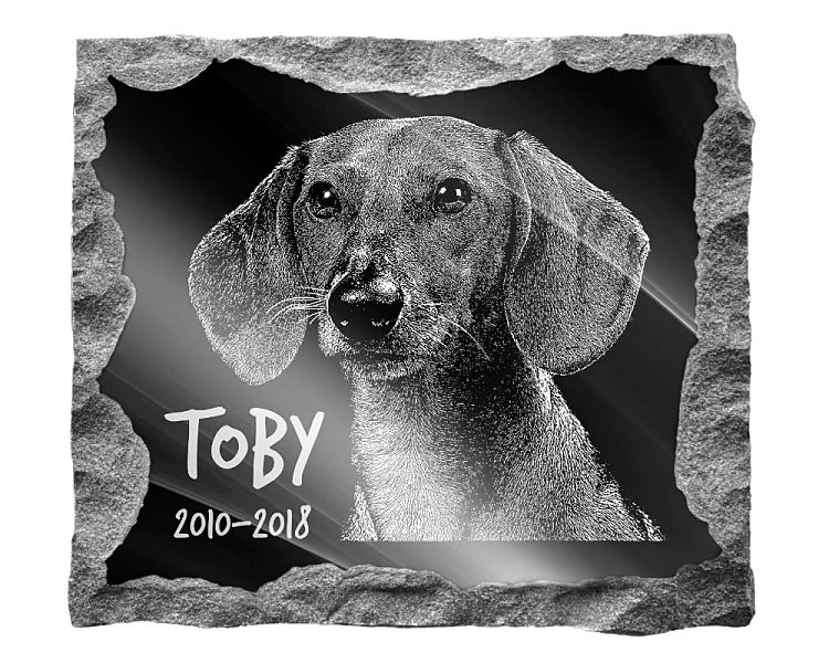 Dachshund Dog Memorial. Image and inscription etched on polished black granite with a natural outer edge chisel finish. Plaque size: 16