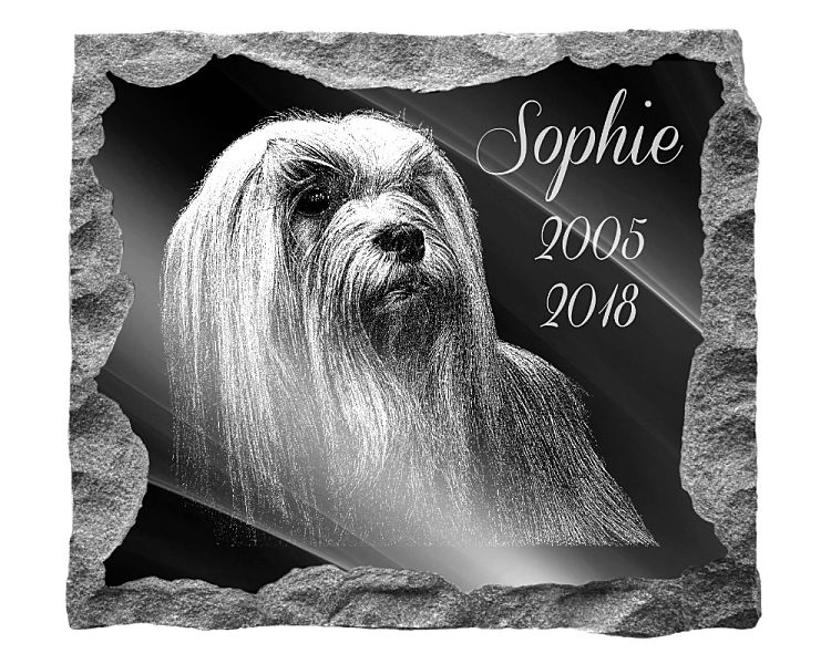 Lhasa Apso Dog Memorial. Image and inscription etched on polished black granite with a natural outer edge chisel finish. Plaque size: 16