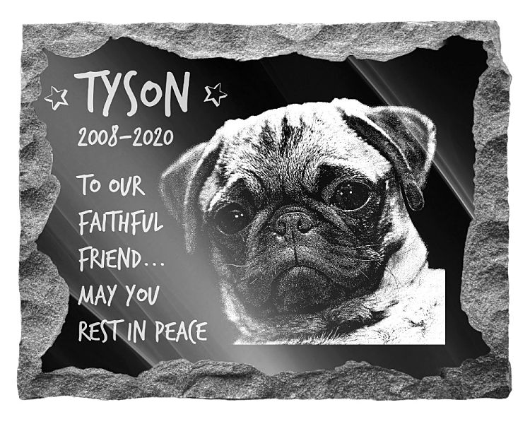 Pug Dog Memorial. Image and inscription etched on polished black granite with a natural outer edge chisel finish. Plaque size: 20