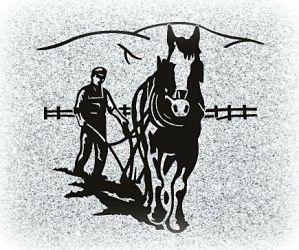 Horse Ploughing Headstone Memorial