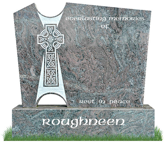 Celtic Ray Gravestone in Paradiso Granite. Two rays of light project from the center of the Celtic cross. Modern in design, with an traditional Irish look. Inscriptions engraved in silver. Font: Standard Celtic Lettering.