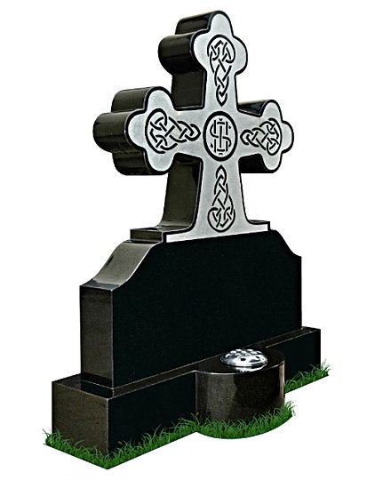 Irish Grave Marker Headstone (angle view) in Black Granite. Celtic Lacing engraved in Black Granite with a silver background. Latin inscriptions engraved in silver. Base with round center to hold a flower container. Font: Killarney Celtic lettering.