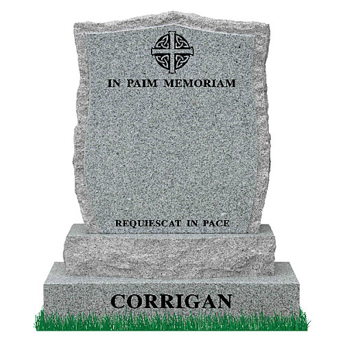 Curved Apex Headstone with curved sub-base in Grey Granite. Celtic Design and Latin verses engraved in matte black. Font: Times Roman 93.