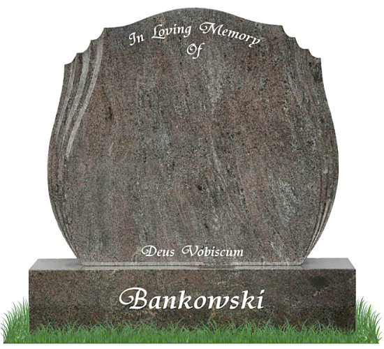Double Tulip Gravestone in Paradiso Granite. The Double Tulip has 3 polished groves incorporated on either side of the memorial. Inscriptions engraved in silver. Font: Trianti Solid lettering.