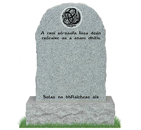 Round Top Rustic Headstone in Grey Granite. Celtic Design and inscriptions in matte black. Font: Gandalf Bold Lettering