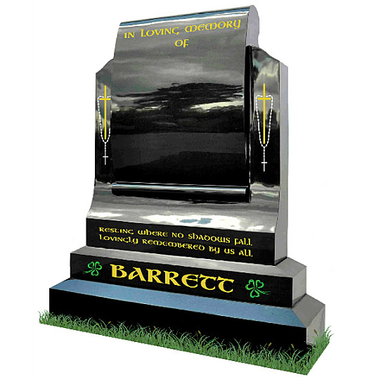Curved Face Scroll Monument (angle view) in Black granite. Crosses with rosary beads engraved in gold and silver. Shamrocks engraved in green and inscriptions in gold leaf. Font: Gandalf Bold lettering.