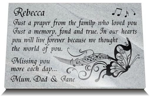 Death Anniversary family gift ideas with music butterfly image