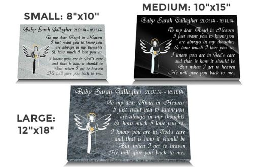 Baby Grave decorations with angels and personalized memorial poem