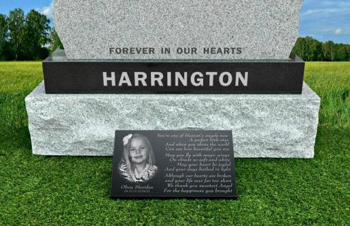 Memorial plaques for baby girl with laser engraved photo and daughter funeral poem