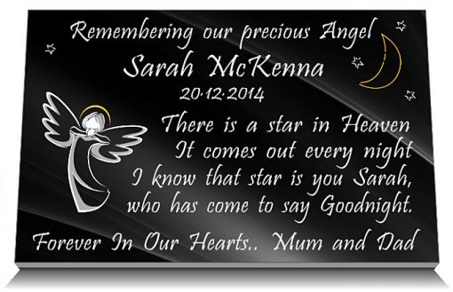 Plaques for infants with angels and memorial poem