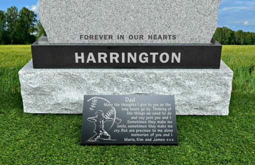 Softball grave marker with memorial poem in granite