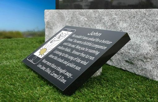 Best Friend Memorial Plaques with iPhone gravestone image