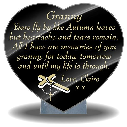 Grandmother Memorial Message on Grandma plaques for graves