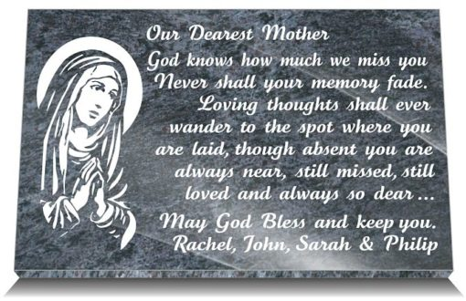 Mother grave Plaques with The Virgin Mary and Memorial Poem