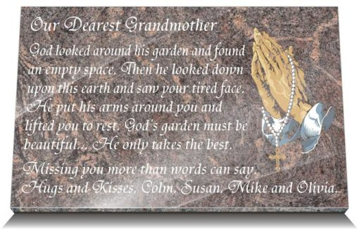 Catholic Grandma Grave Markers with Praying hands and Rosary Beads engraved in granite