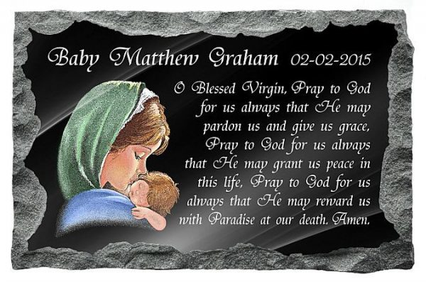 Catholic plaques for infants with Our Lady and baby Jesus