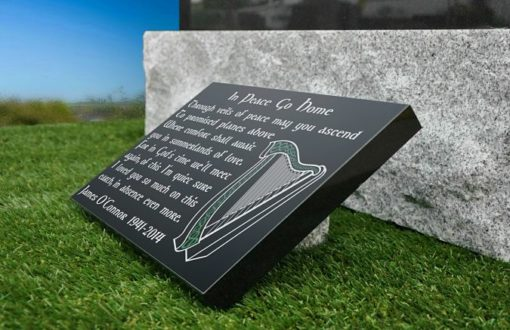 Celtic Harp funeral tribute Irish memorial plaques for graves