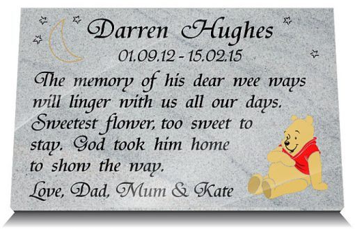 headstone souvenir with teddy bear for children