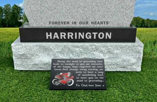 Grave Plaques with Motorcycle memorial quotes and photograph