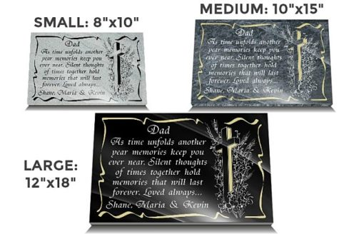 Dad grave marker with Catholic Cross and memorial verse