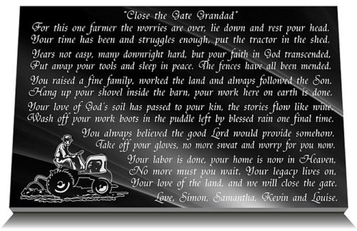 Grandfather Farmer memorial gifts for graves with farmer in Heaven funeral poem