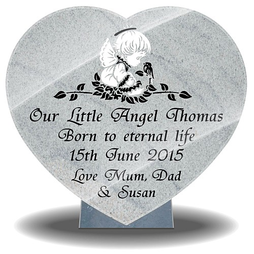 Infant grave heart plaque with angel and personalised inscriptions