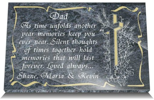 Dad memorial plaques with funeral verse and Christian Cross