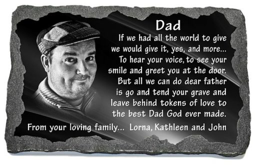Unique father memorial with dad's photo laser engraved to granite