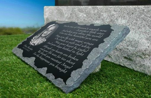 Infant girl grave plaques with photograph and memorial poem