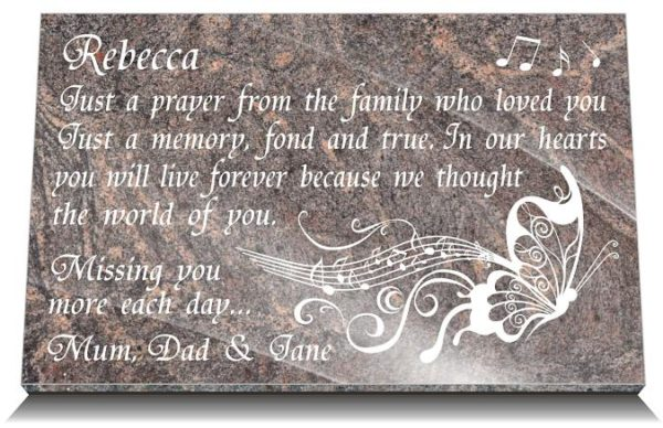 1st-anniversary death gift for gravestone with music butterfly image
