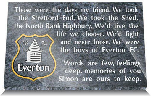 Everton Football Club Memorial Plaque