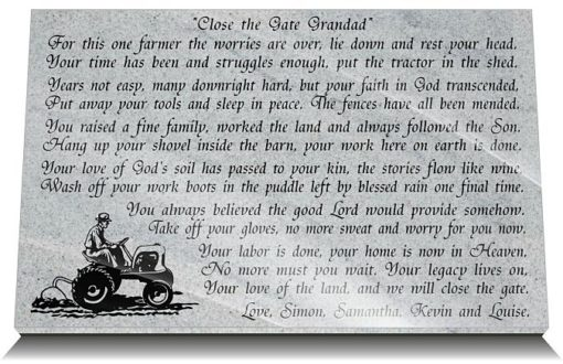 Personalized grave plaque for farmers with farmer in Heaven memorial verse