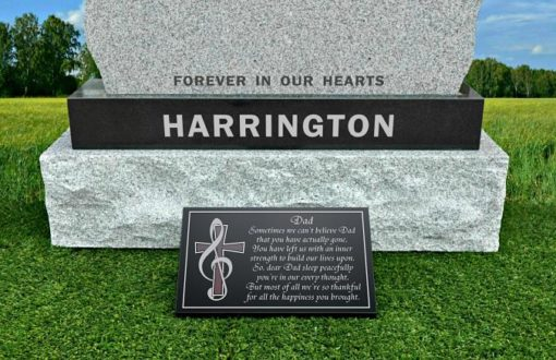 Dad death poem on memorial plaque for gravestone with music note cross