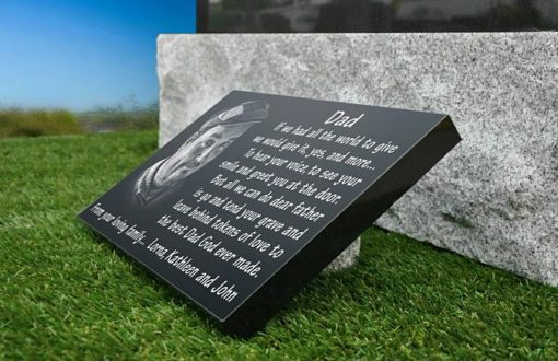 Personalized Grave Plaques with photos and memorial poems Ireland and the UK